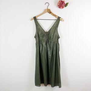 [ADRIANNA PAPELL] Empire Studded Metallic Dress